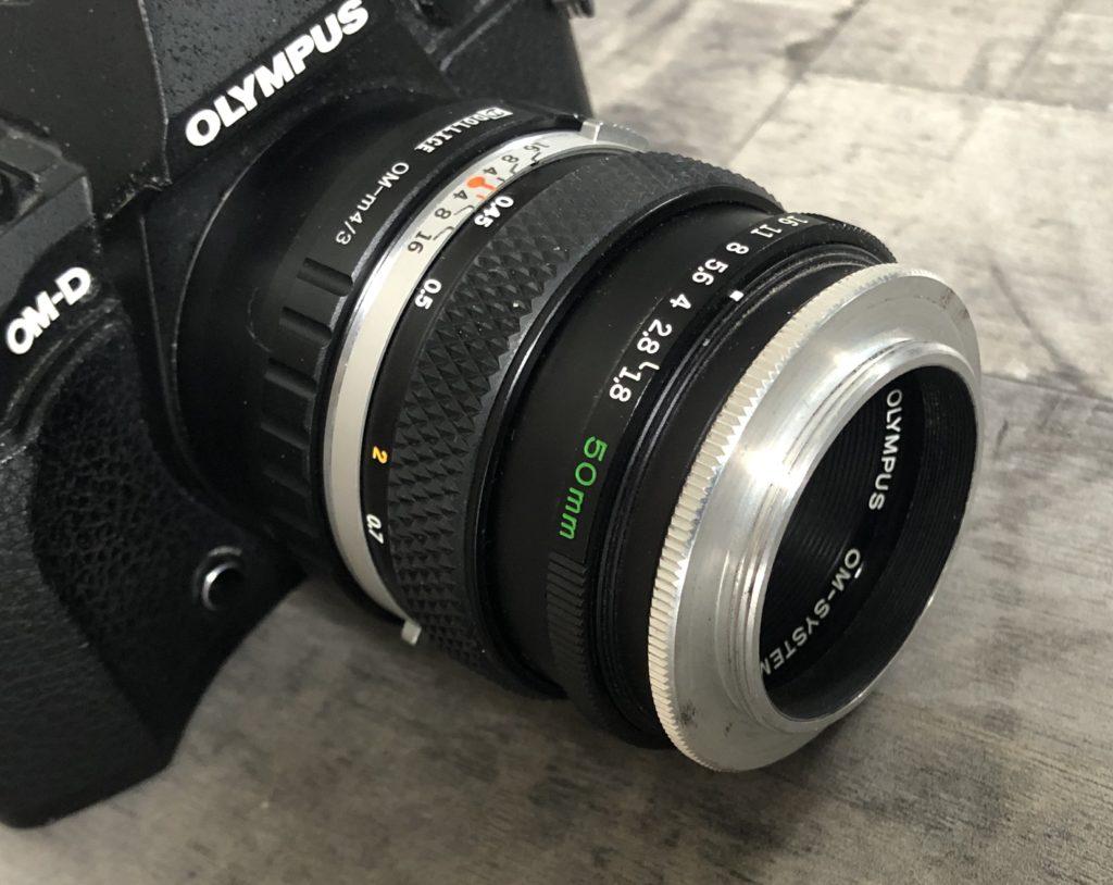 Olympus lens with reversing ring