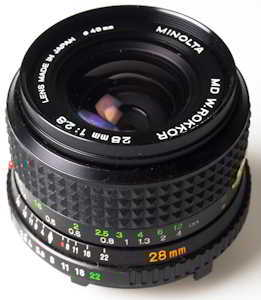 Minolta 28mm f/2.8 wide-angle (35mm interchangeable lens) £40.00